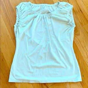 Loft Mint/Silver Cap Sleeve Top